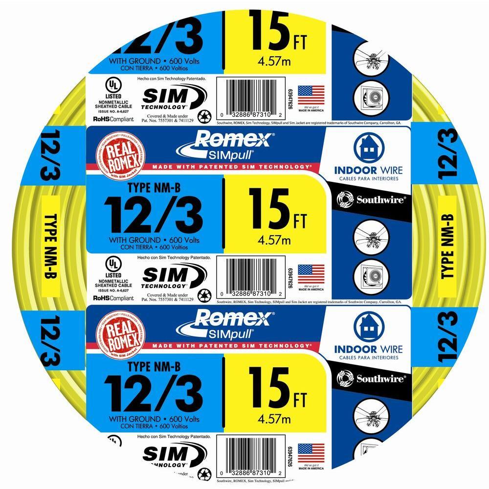 15 ft. 12/3 Solid Romex SIMpull CU NM-B W/G Wire