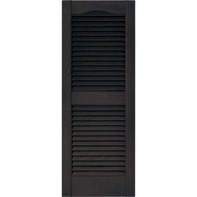 15 in. x 39 in. Louvered Vinyl Exterior Shutters Pair in #010 Musket Brown