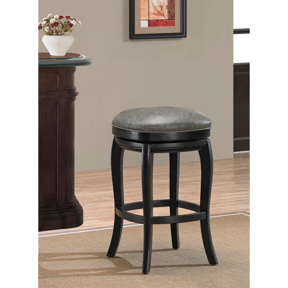 American Heritage Madrid 26 in. Black Cushioned Bar Stool