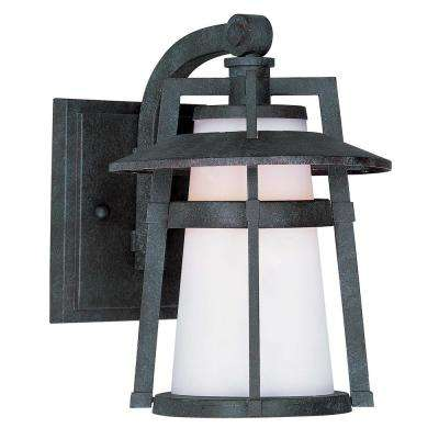 Carriage House 9 in. Wide 1-Light Oriental Bronze Outdoor Integrated LED Wall Lantern Sconce