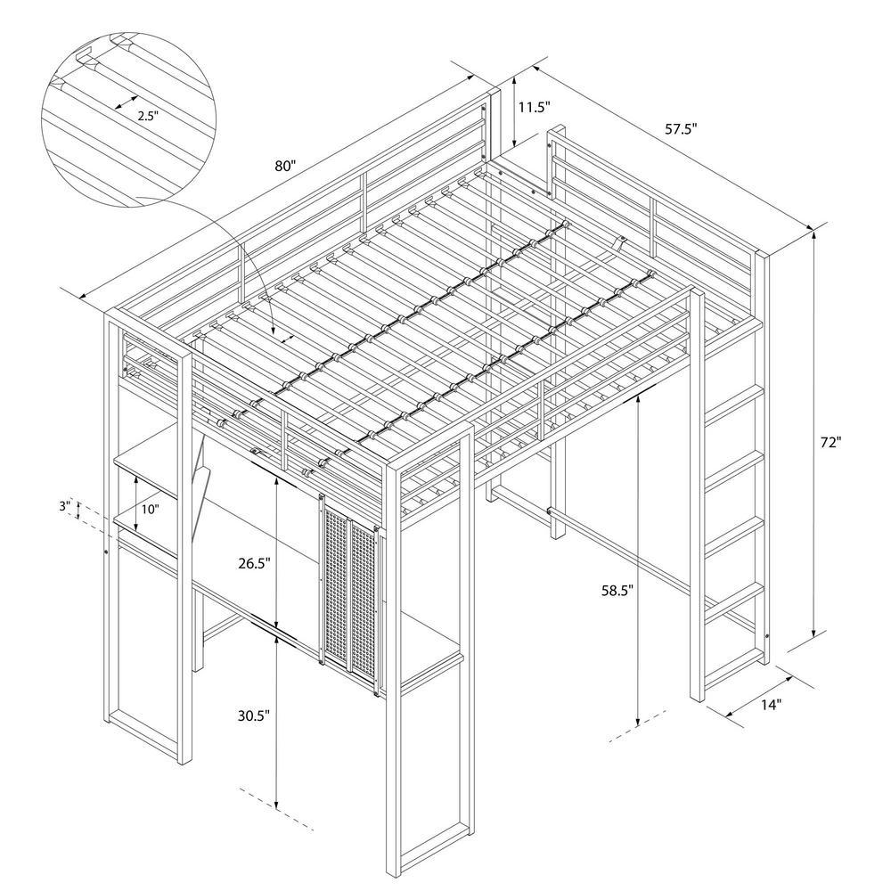 fb4fef8d5b7c0 +2. DHP Alana Black Full Metal Loft Bed with Desk