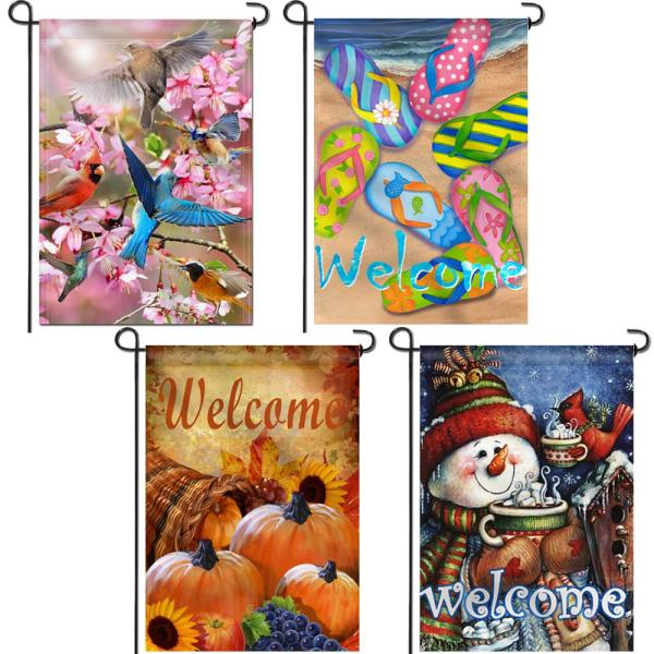 Anley 18 In X 12 5 In Double Sided Four Seasons And Decorative Deluxe Set Patio Flags For All Season A Flag Garden 4seasonset The Home Depot