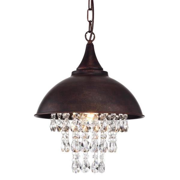 1-Light Antique Copper Dome Modern Farmhouse Pendant with Hanging Crystals