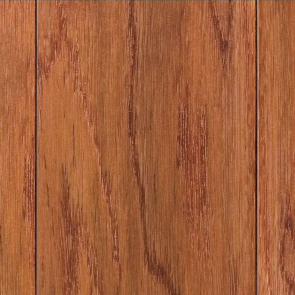 Take Home Sample - Hand Scraped Oak Gunstock Click Lock Hardwood Flooring - 5 in. x 7 in.