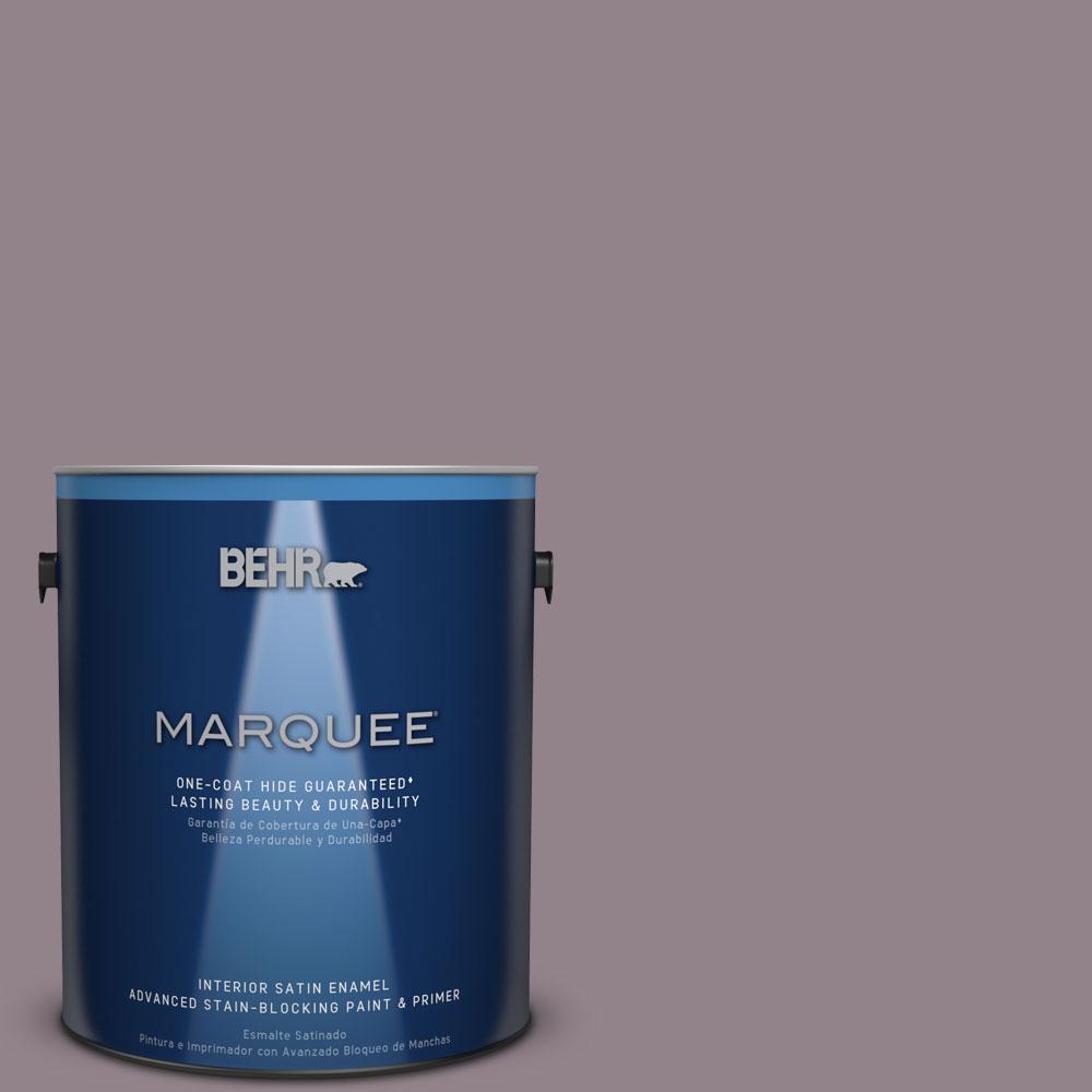 1 gal. #N110-4 Gothic Purple One-Coat Hide Satin Enamel Interior Paint