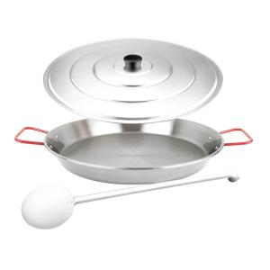 Magefesa Pizza and Paella 15 inch Carbon on Steel Pan with Spatula and Lid by Magefesa