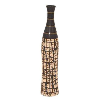 Brown/Tan  Natural Bottle Vase with Black Accents, Small