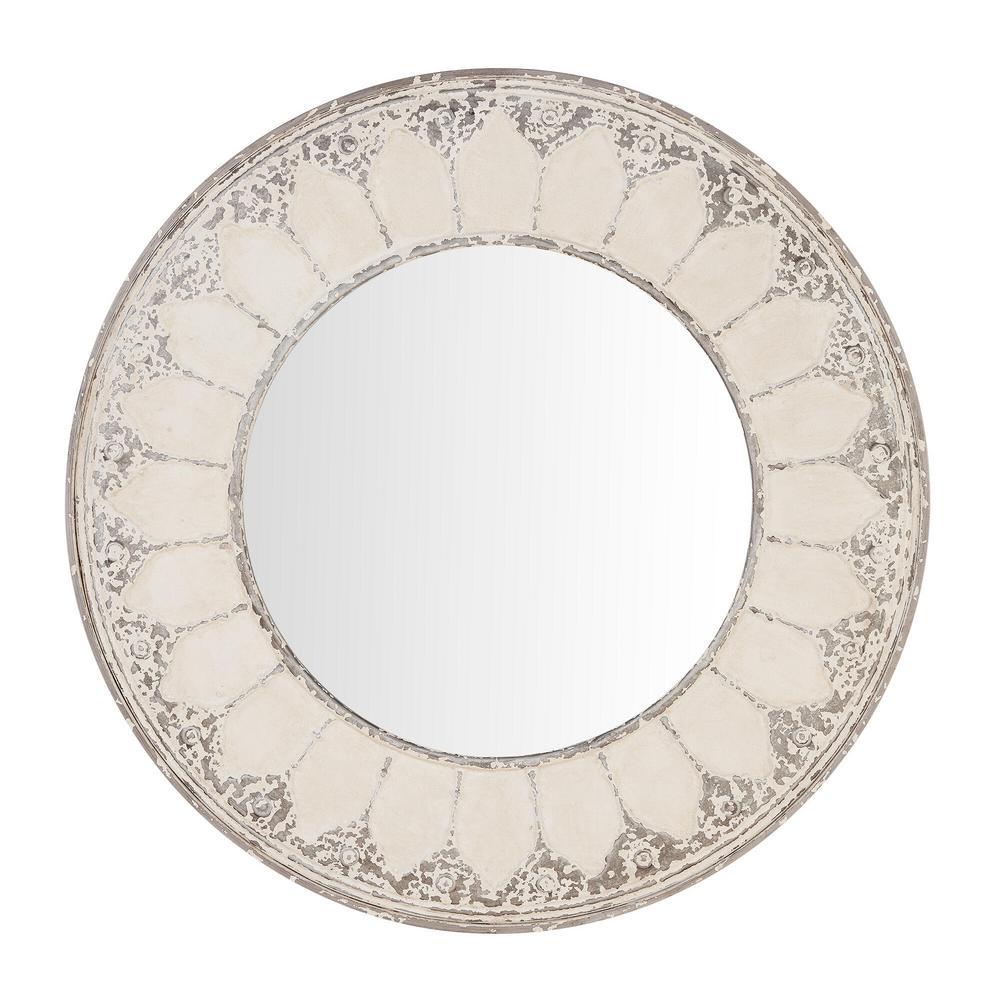 Medium Round Ivory Antiqued Classic Accent Mirror (32 in. Diameter)