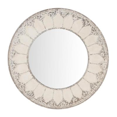 Medium Round Ivory Antiqued Classic Accent Mirror (32 in. Diameter)