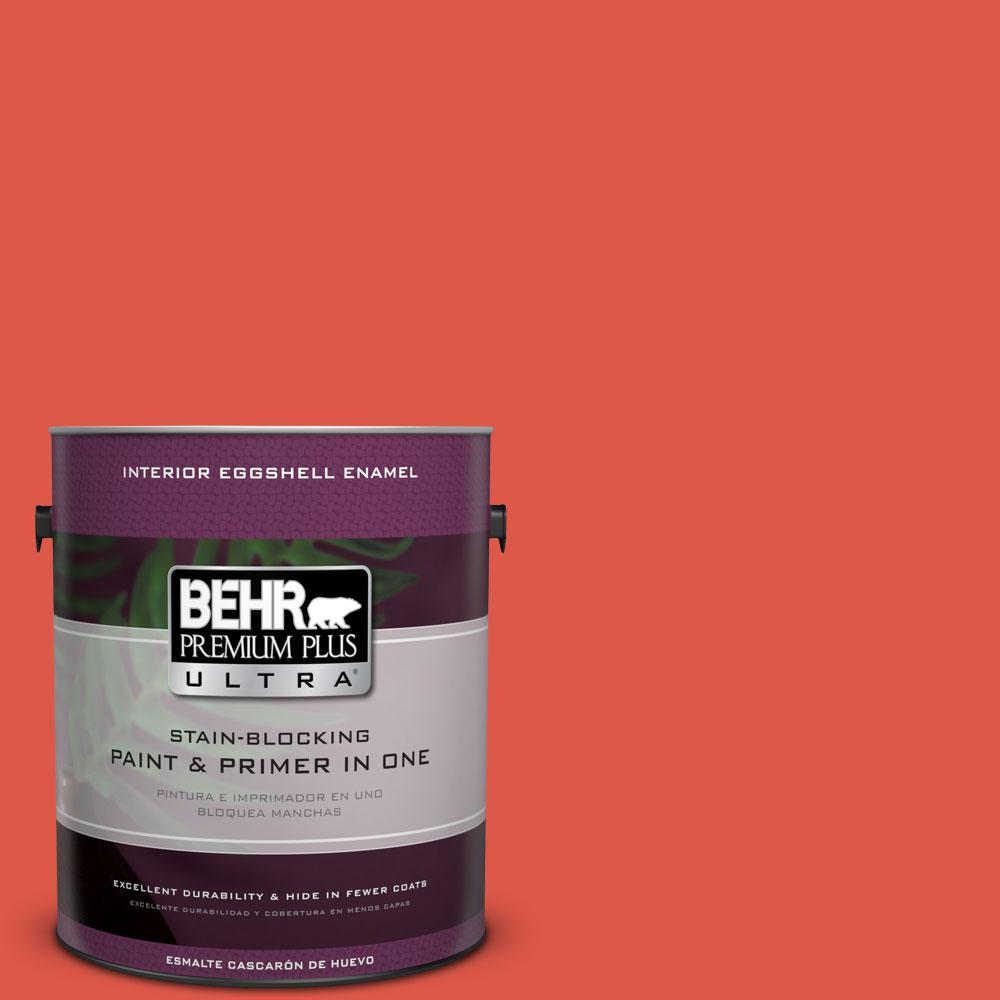 BEHR Premium Plus Ultra 1-gal. #180B-6 Fiery Red Eggshell Enamel Interior Paint