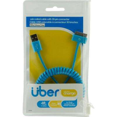4 ft. USB Apple 30 Pin Sync Charge Coil Cable - Blue