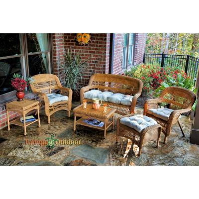 Portside Amber 6-Piece Wicker Patio Seating Set with Sand Cushions