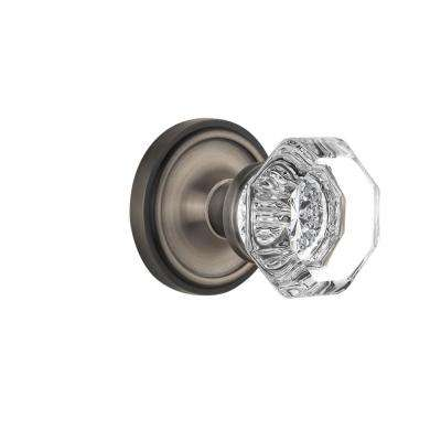 Classic Rosette 2-3/4 in. Backset Antique Pewter Passage Hall/Closet Waldorf Door Knob