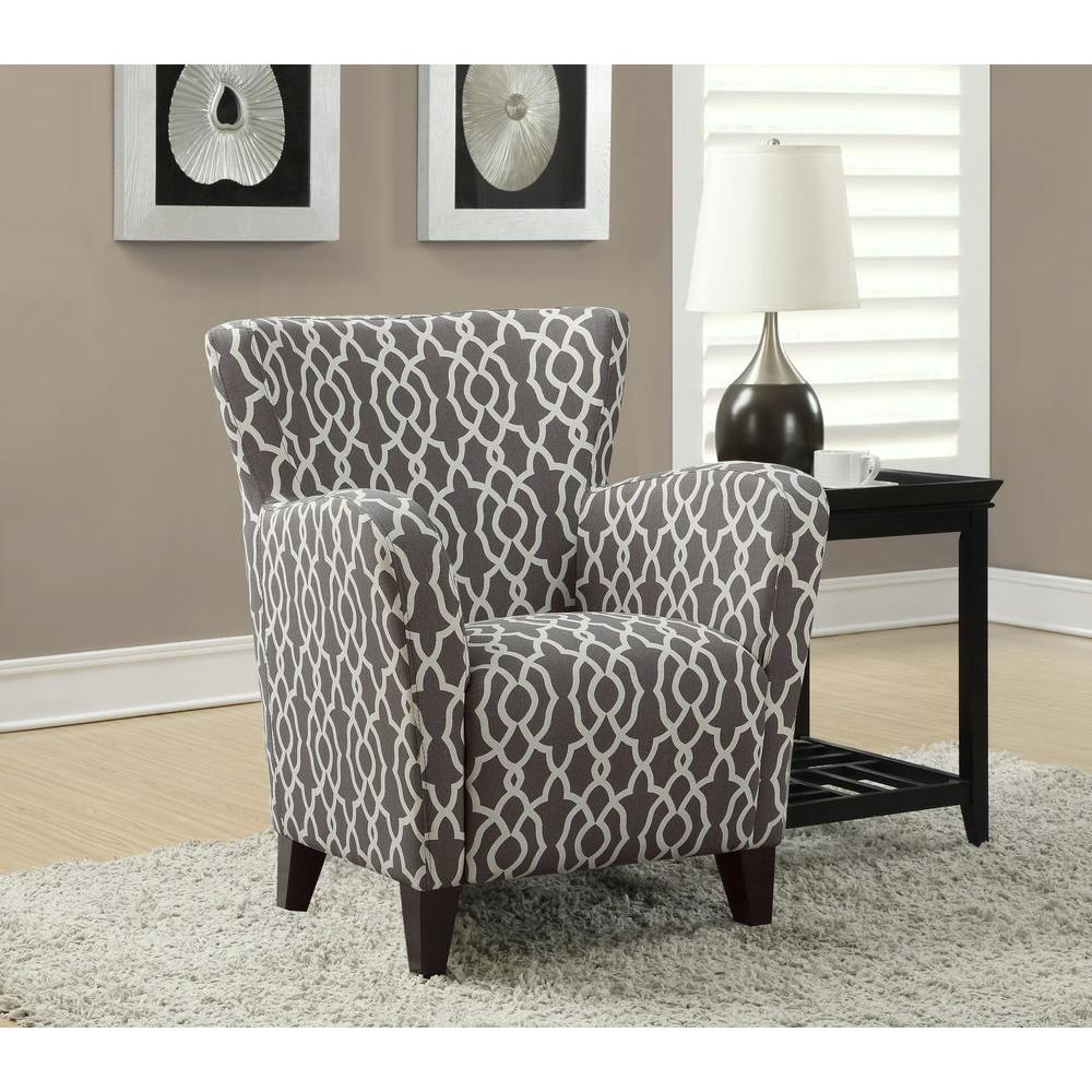 Merveilleux Monarch Specialties Europa Brown And White Fabric Club Arm Chair