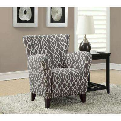 Europa Brown and White Fabric Club Arm Chair