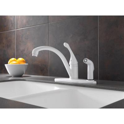 Collins Single-Handle Standard Kitchen Faucet with Integral Side Sprayer in White