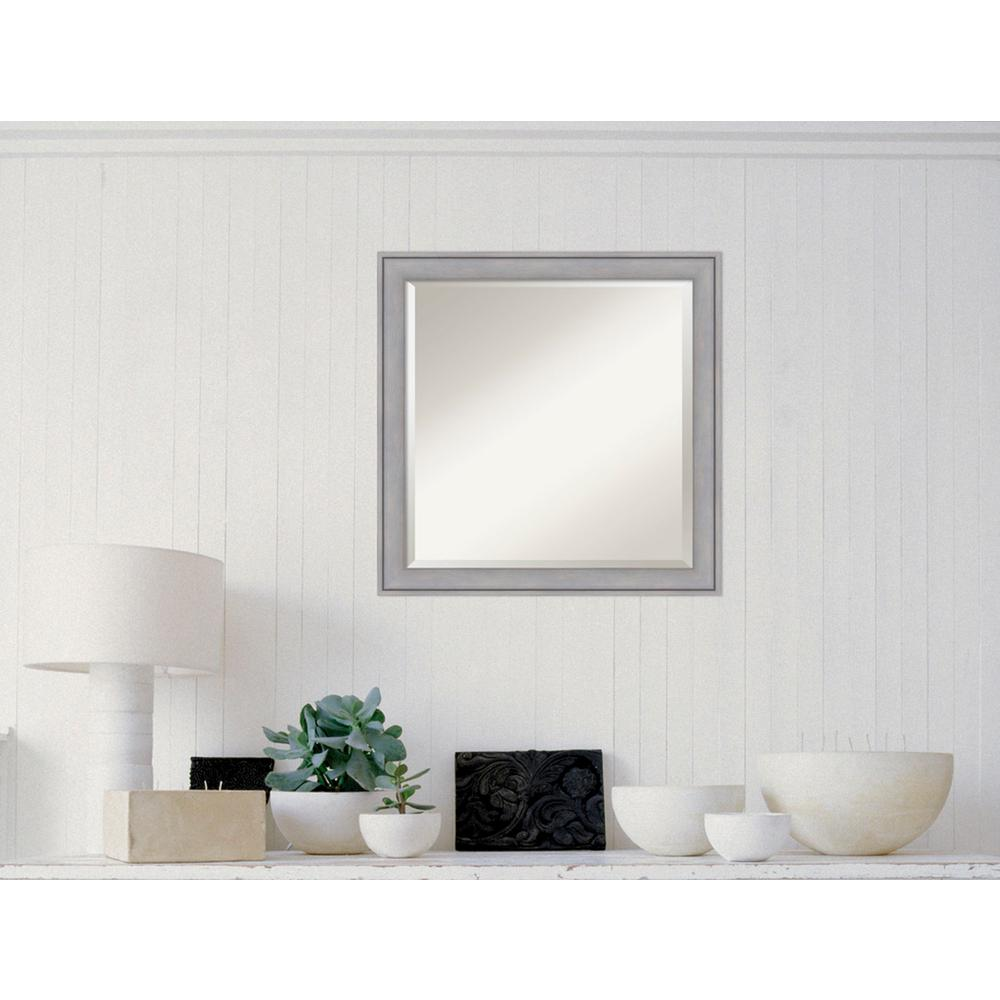 Graywash Wood 23 in. x 23 in. Contemporary Framed Mirror