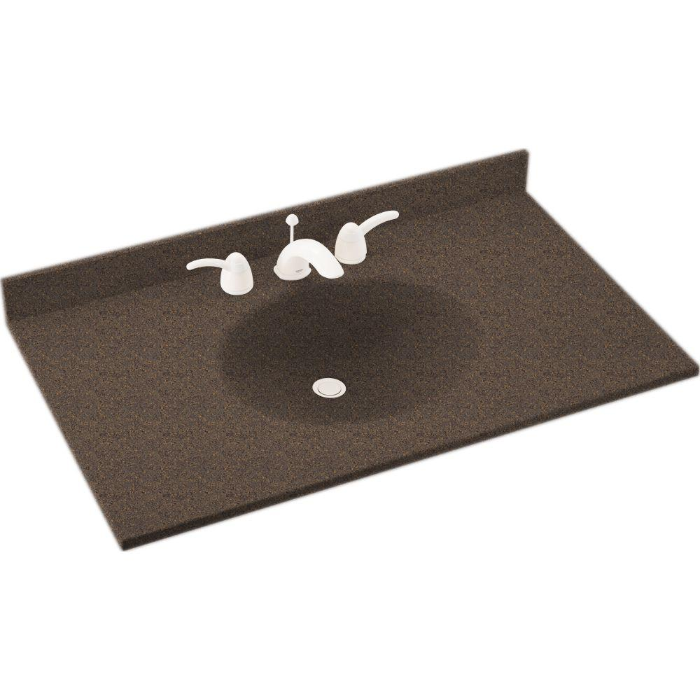 Swanstone Ellipse 37 in. Solid Surface Vanity Top with Basin in Sierra-DISCONTINUED