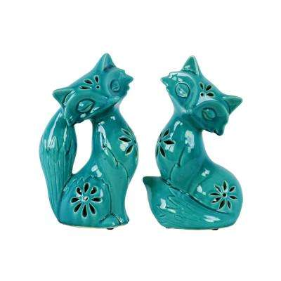 10.75 in. H Fox Decorative Figurine in Turquoise Gloss Distressed Finish