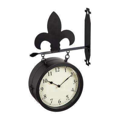 2-Sided Outdoor Wall Clock and Thermometer with Fleur de Lis