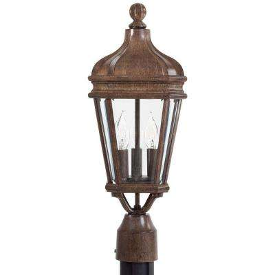 Harrison 3-Light Vintage Rust Outdoor Post Lantern