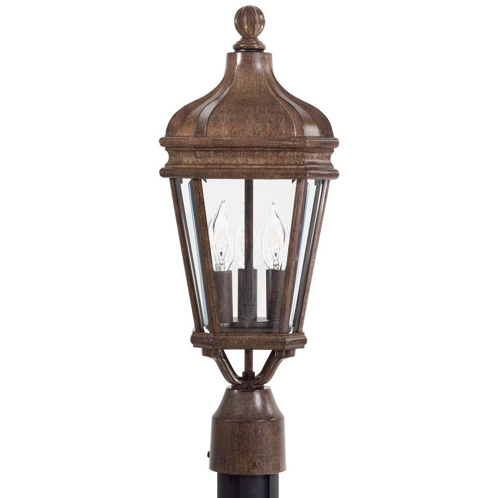The Great Outdoors By Minka Lavery Harrison 3 Light Vintage Rust Outdoor Post Lantern