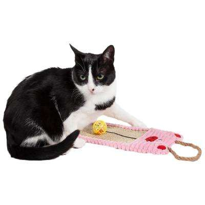 Pink Eco-Natural Sisal and Jute Hanging Carpet Kitty Cat Scratcher Lounge with Toy