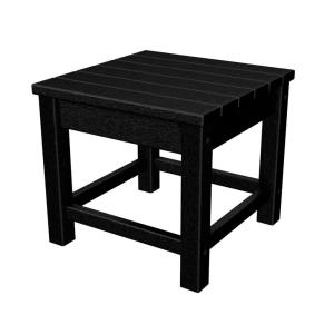 polywood club 18 in black patio side table clt1818bl the home depot. Black Bedroom Furniture Sets. Home Design Ideas