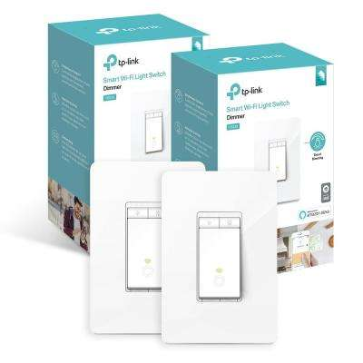 Smart Wi-Fi Light Switch Dimmer, White (2-Pack)