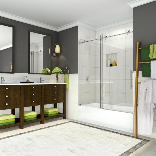 Coraline 56 - 60 in. x 60 in. Completely Frameless Sliding Tub Door in Brushed Stainless Steel