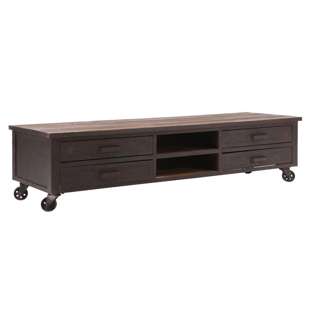 ZUO Fort Mason Distressed Natural Entertainment Stand