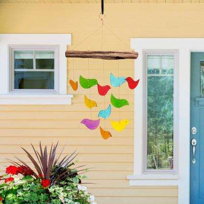 18 In. Tall Recycled Glass Bird Shaped Wind Chimes