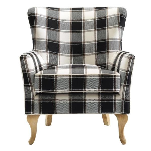 Dorel Emerie Black and White Checkered Pattern Accent Chair FH8129