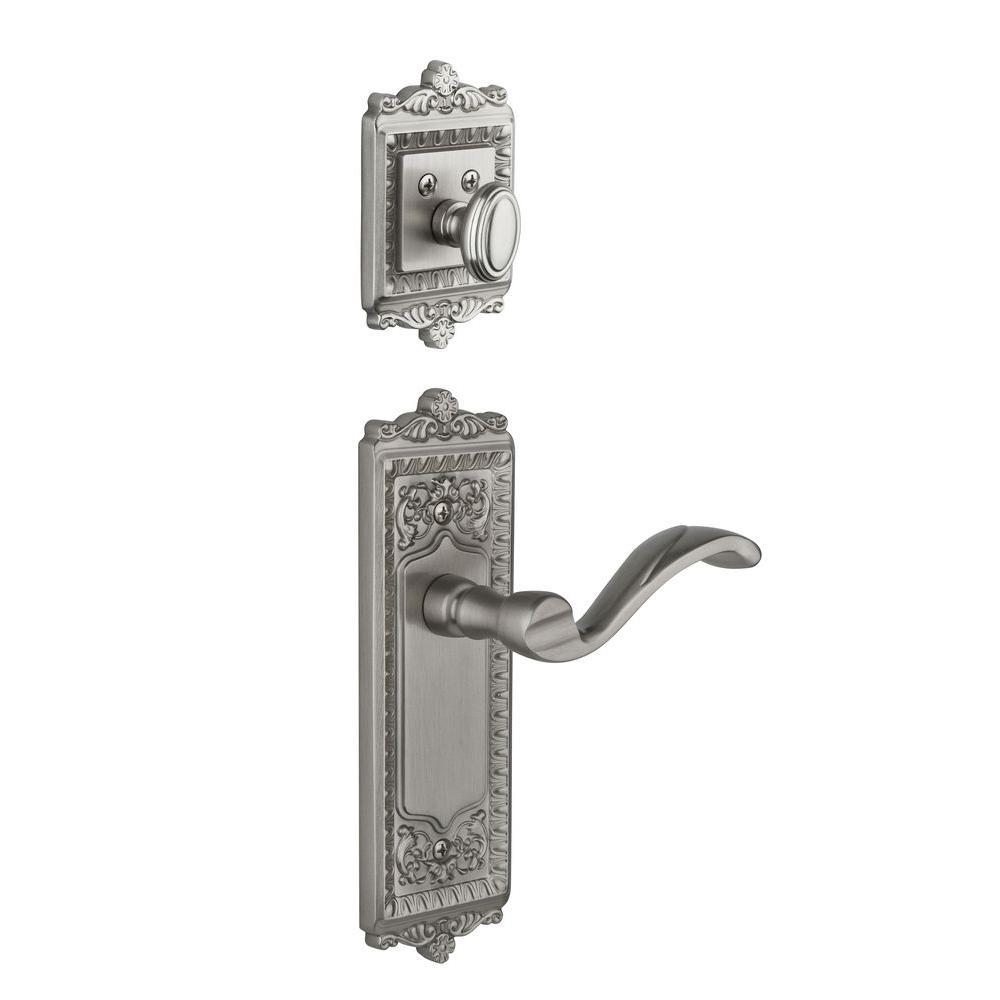 Grandeur Windsor Single Cylinder Satin Nickel Combo Pack Keyed Alike with Portofino Lever and Matching Deadbolt