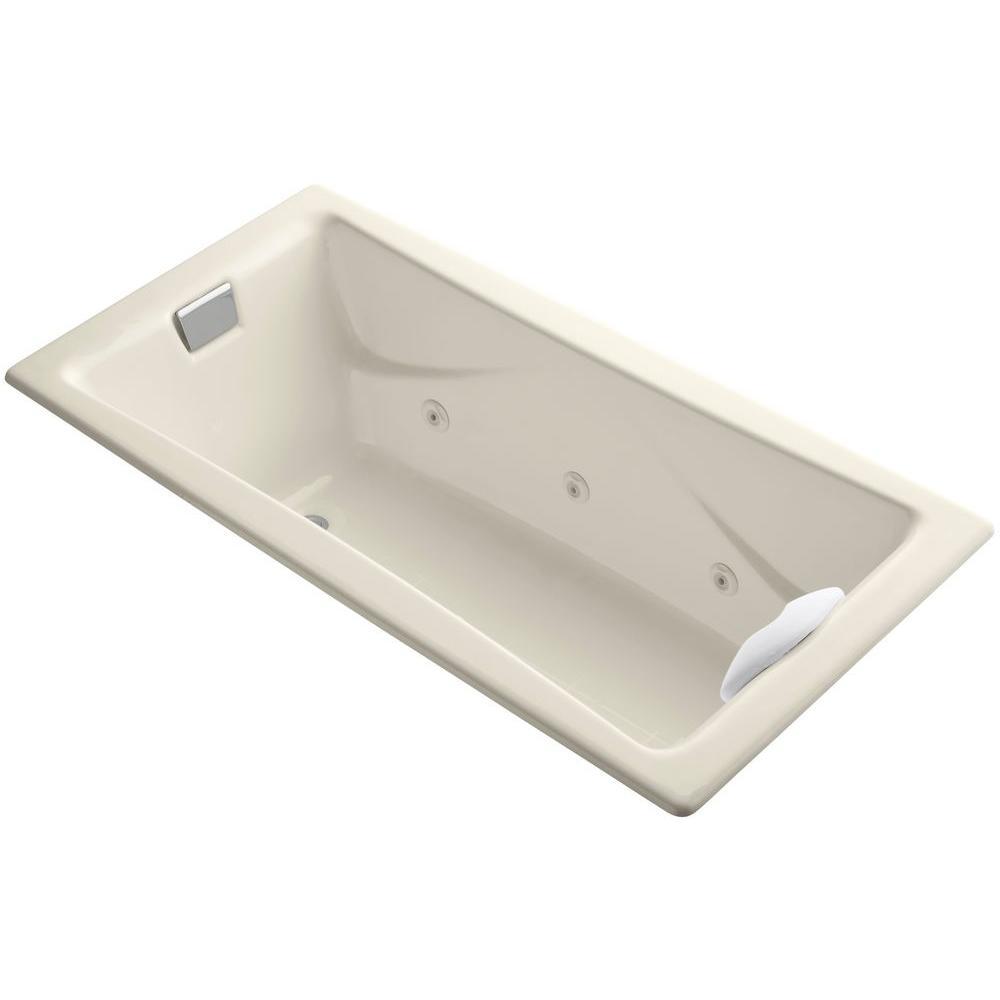 KOHLER Tea-for-Two 5.97 ft. Rectangle Whirlpool Bath Tub in Almond