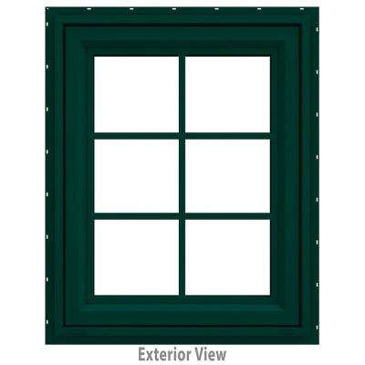 23.5 in. x 29.5 in. V-4500 Series Green Painted Vinyl Awning Window with Colonial Grids/Grilles