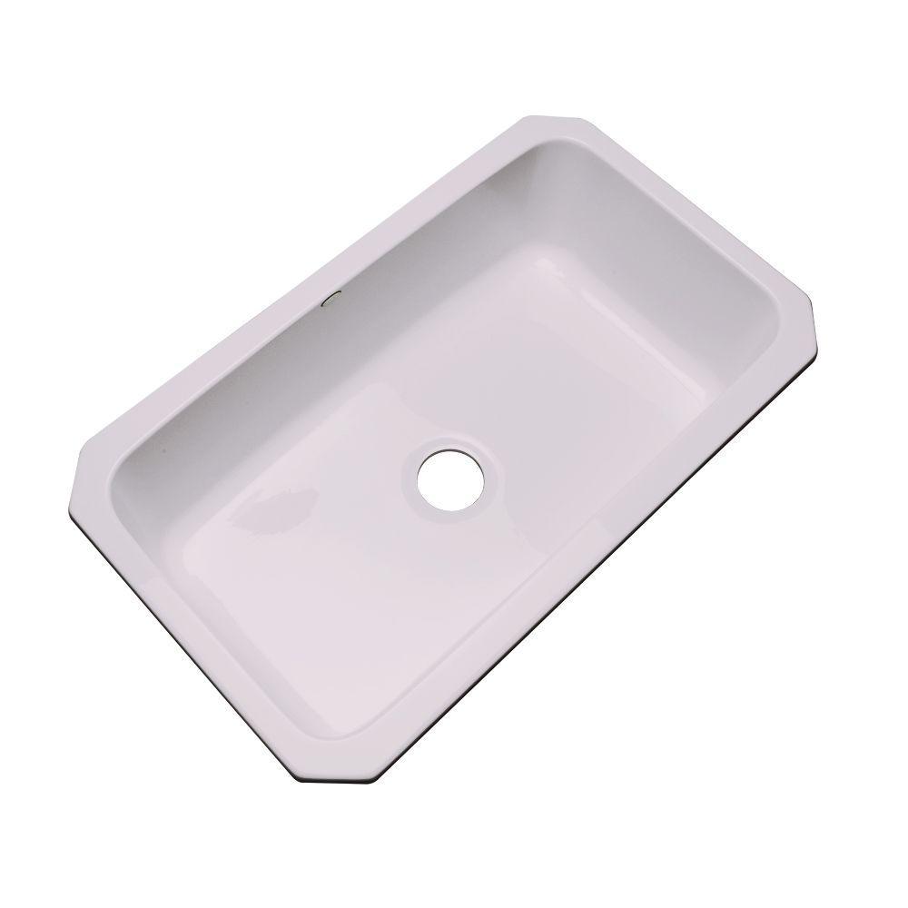 Manhattan Undermount Acrylic 33 in. Single Bowl Kitchen Sink in Innocent