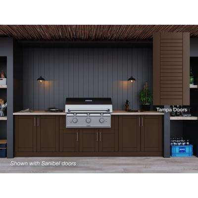 Tampa Dock Brown 17-Piece 121.25 in. x 34.5 in. x 28 in. Outdoor Kitchen Cabinet Set