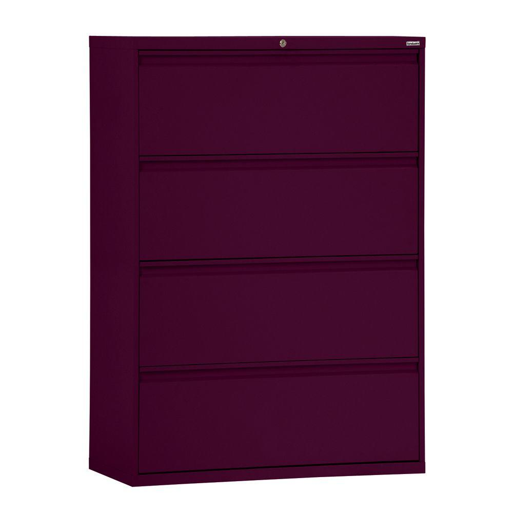 Brilliant 800 Series 36 In W 4 Drawer Full Pull Lateral File Cabinet In Burgundy Home Interior And Landscaping Ologienasavecom
