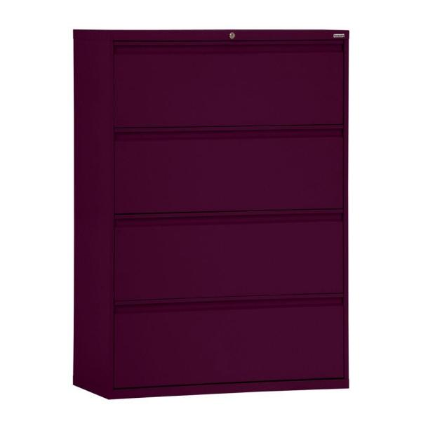 800 Series 36 in. W 4-Drawer Full Pull Lateral File Cabinet in Burgundy