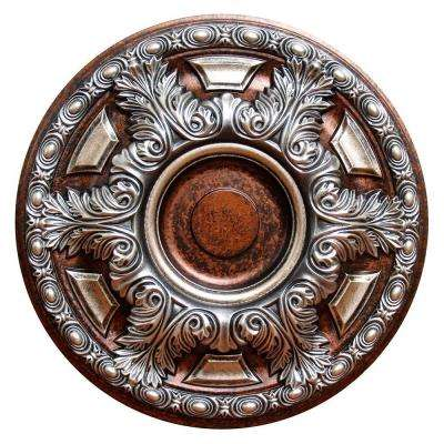 23-5/8 in. Silver Cup, Silver, Copper and Warm Silver, Polyurethane Hand Painted Ceiling Medallion