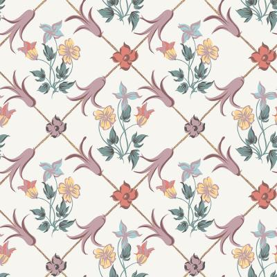 Tessin Multicolor Floral Geometric Wallpaper Sample