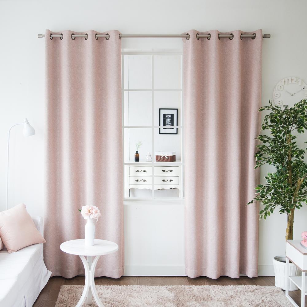 L Pink Linen Print Room Darkening Curtain Panel 2