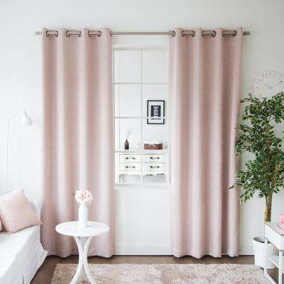 96 in. L Pink Linen Print Room Darkening Curtain Panel (2-Pack)