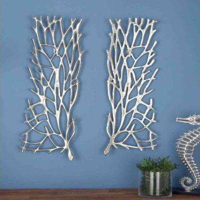 10 in. x 34 in. Silver-Nickel Aluminum Trellis Wall Decor (Set of 2)