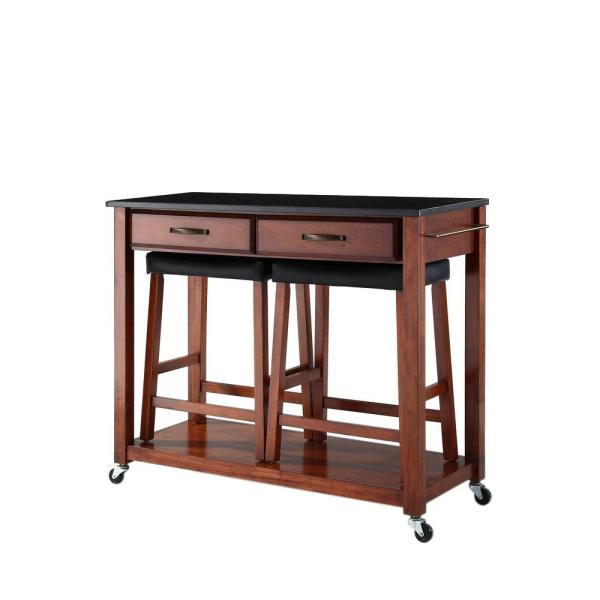 Cherry Kitchen Cart with Black Granite Top and Stools