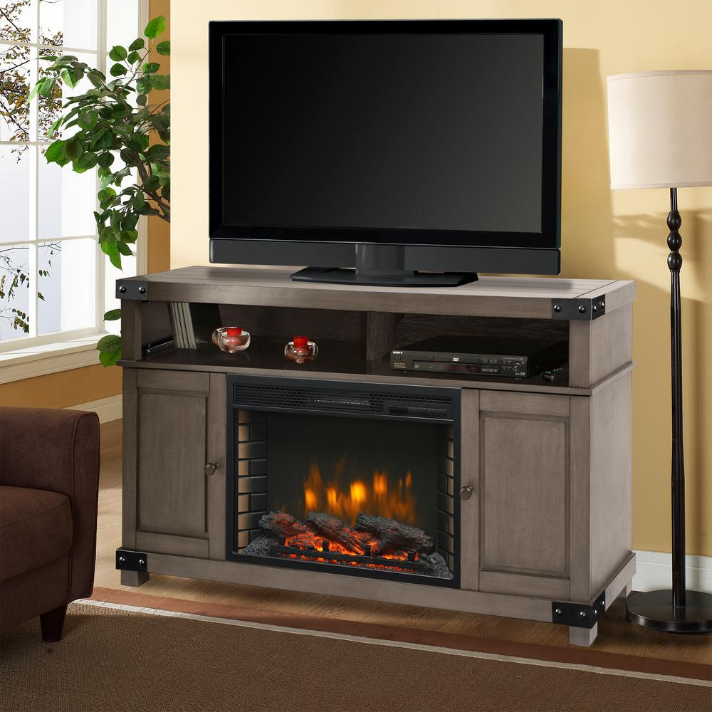 Hudson 53 in. Freestanding Electric Fireplace TV Stand in Dark Weathered