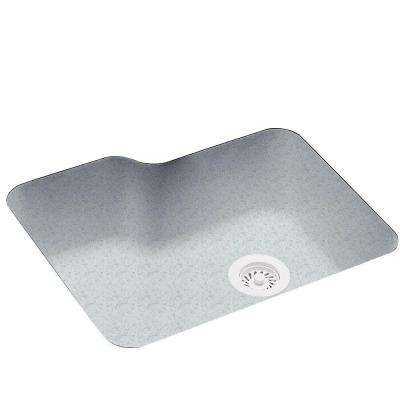 Undermount Solid Surface 25 in. 0-Hole Single Bowl Kitchen Sink in Tahiti Gray