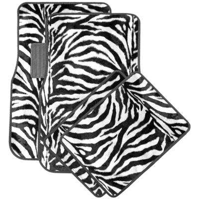 Zebra White and Black 4-Piece Heavy-Duty Rubber 26.5 in. x  17.25 in Floor Mats