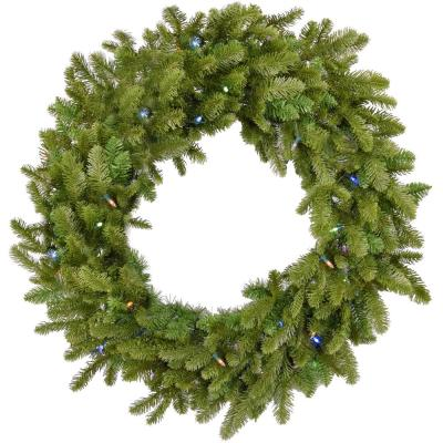 36 in. Grandland Artificial Holiday Wreath with Multi-Colored Battery-Operated LED String Lights